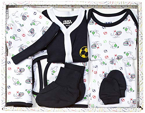 Amazon Brand - Jam & Honey Baby Boy's Cotton Clothing Set (BGP8-01_Multicolor 6_0-3 Months)