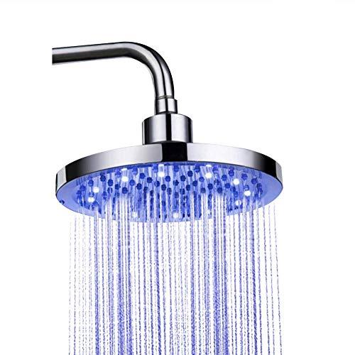 Alcachofa Ducha LED, 8 inch Cabezal Ducha de Baño de Acero Inoxidable, Alta Presión Alcachofa Ducha Lluvia 3 Cambio de Color , No Necesita Pilas