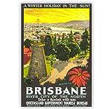 Jindongya Brisbane Australien Tourismus Poster Vintage