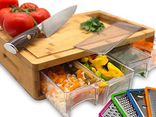 Planche à découper en bambou avec plateaux et couvercles. Multifonction : livré avec 4 trancheuses différentes et 4 tiroirs peut être utilisé comme plat de préparation ou pour le rangement.