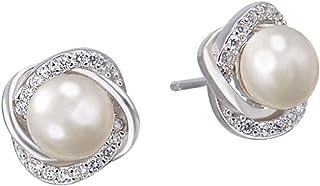 Prettyia S925 Sterling Silver Ear Studs Conch Pearl Stud Earrings Fashion Women Jewelry Gifts