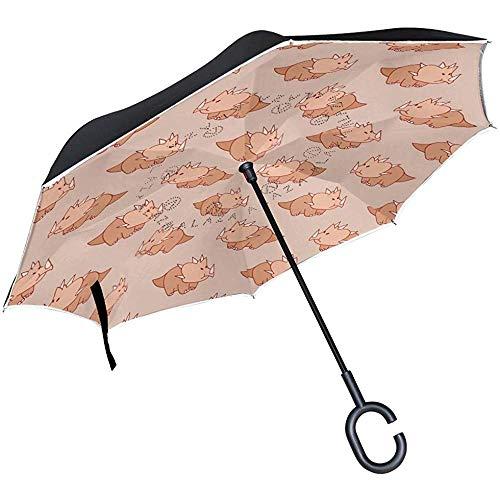 Omgekeerde Reizen Paraplu Triceratops Dino Omgekeerde Winddichte UV Bescherming Paraplu's met C Vorm Handvat voor Auto Golf Outdoor