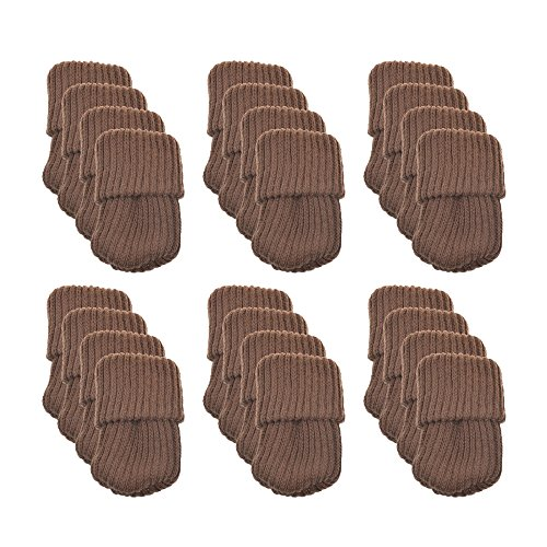 Meta-u- Chaussettes à Tricoter en Laine - Housse de Chaise - Protecteur de Plancher - Réduire Le Bruit et Les Rayures - Portable et Lavable- pour Table   Chaise   Commode   Placard - 24 Pcs(café)