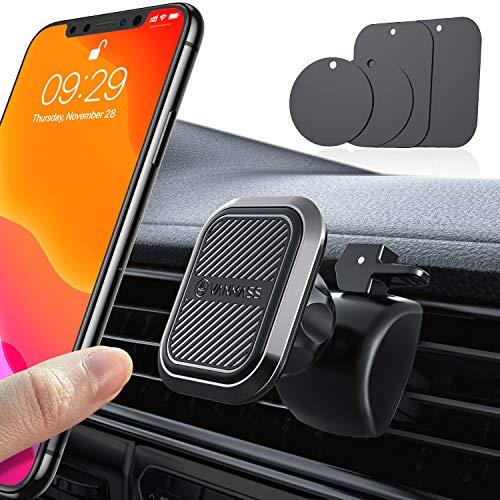 VANMASS Handyhalterung Auto Magnet Handyhalter fürs Auto Lüftung Upgrade Superstark 6 Magnete und 4 Metallplatten Magnetischer 360°Drehbar KFZ Handyhalter Universal für iPhone,Samsung,Huawei iPad usw.