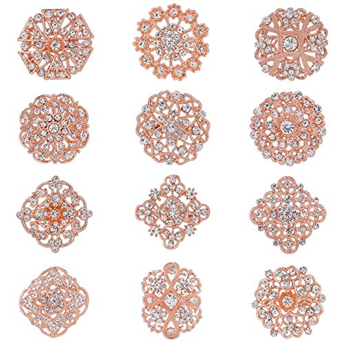 WeimanJewelry Rose Gold Plated 12pcs Clear Crystal Rhinestones Brooch Pin Set for DIY Wedding Bouquets Kit