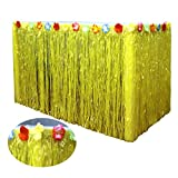 Xiuyer Falda de Mesa Luau Hawaiana Tropical Hibiscus Falda de Mesa de Hierba Hawaiian Party Decoration Table Skirt para Playa Jardín Parilla Verano Fiesta Decoración(276x75cm, Amarillo)