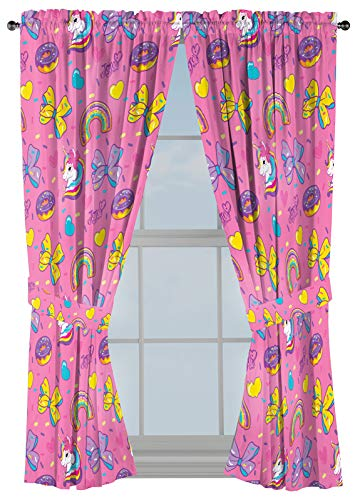 """Nickelodeon JoJo Siwa Sprinkles & Ice Cream 63"""" Inch Drapes - Beautiful Room Décor & Easy Set Up, Bedding - Curtains Include 2 Tiebacks, 4 Piece Set (Official Nickelodeon Product)"""