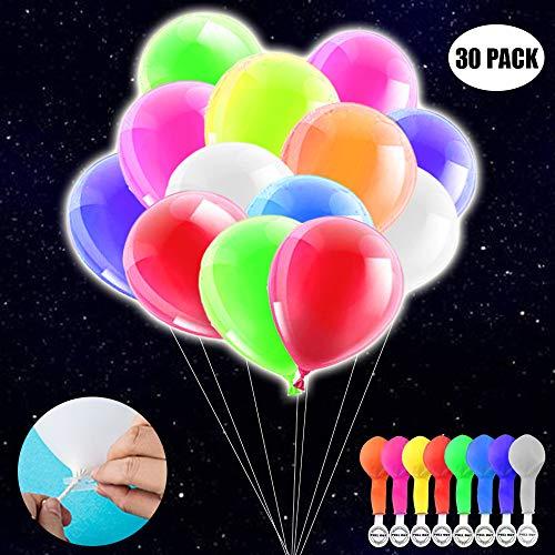 TECHSHARE Leucht Luftballons, 30 Stücke LED Leuchtende Luftballons, Licht für Hochzeit Party, Geburtstag, Festival, Weihnachten Dekoration mit Bunte Ballons