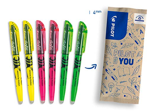Pilot FriXion Light Erasable Highlighter Pens Set of 6 (Neon Yellow, Neon Pink, Green)
