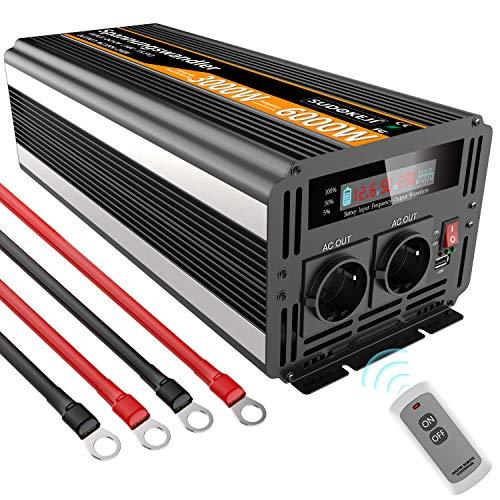 (Max 6000W) KFZ Wechselrichter 3000W Spannungswandler 12V 230V mit Fernbedienung, LED-Anzeige & 2 EU-Steckdosen und USB-Port Modifizierte Sinuswelle Power Inverter