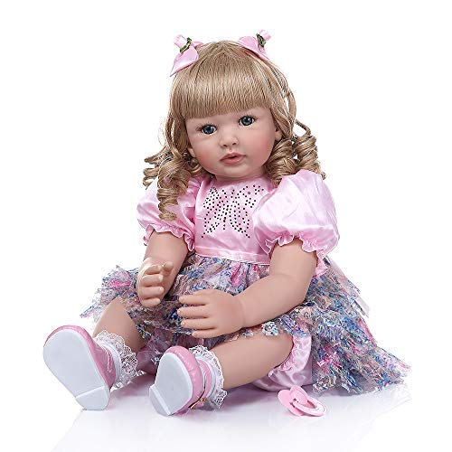 Zero Pam Pinky 24 inch 61cm Lovely Reborn Baby Girl Dolls Toddler Realistic Looking Life Like Baby Doll Vinyl Silicone Long Hair Babies Toy Gift (24inch, Blue Eyes)