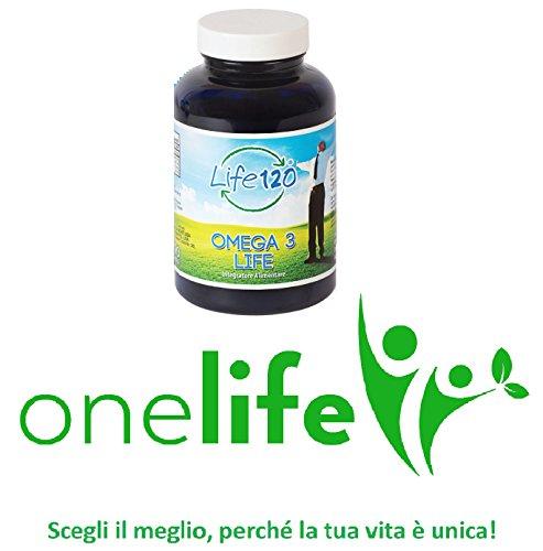Omega 3 di Life 120 | Olio di Pesce 150 Perle Gel Morbido 1000 mg, Prodotto Italiano Acidi Grassi Omega 3 | Distributore Esclusivo OneLife