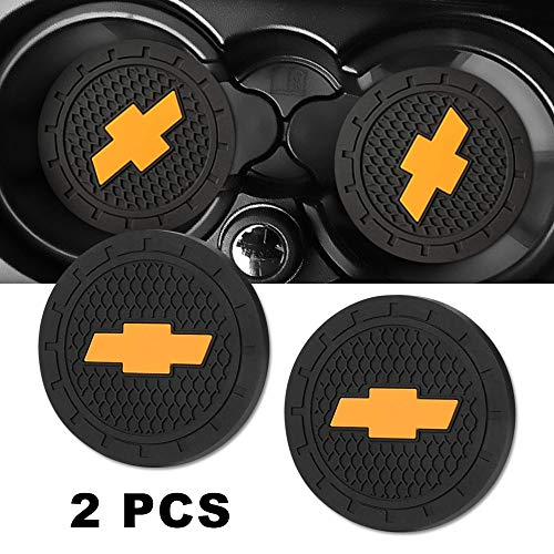 Auto Sport 2.75 Inch Diameter Oval Tough Car Logo Vehicle Travel Auto Cup Holder Insert Coaster Can 2 Pcs Pack for Chevrolet Accessories