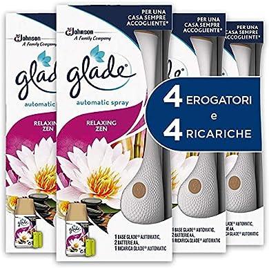Foto di Glade Automatic Spray Profumatore per Ambienti Base con Ricarica, Fragranza Relaxing Zen, 4 Erogatore + 4 Ricarica 269 ml