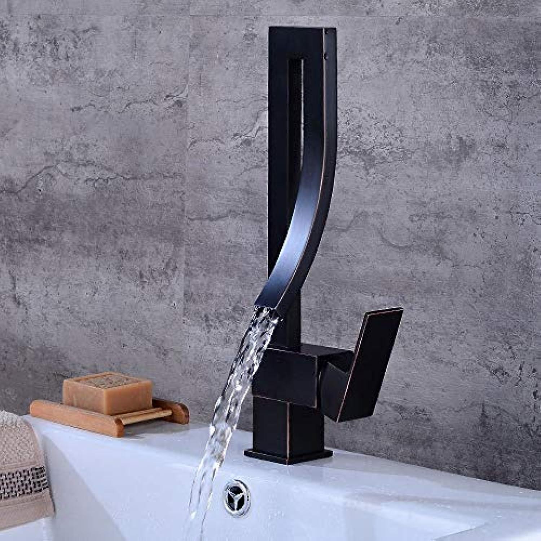 WMING Home Waschbecken-Mischbatterie Badezimmer-Küche-Becken-Hahn auslaufsicher Speichern Sie Wasser-Küche antike mischende heie und kalte Wasserventil-drehendes schwarzes Quadrat Einzelgriff