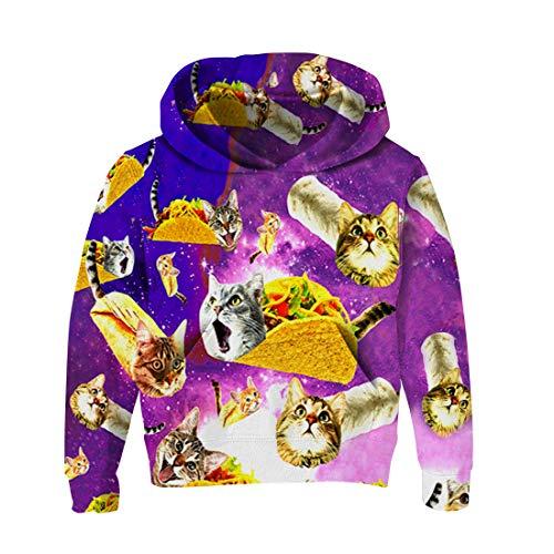 RAISEVERN Neuheit Hoodies 3D Printed Langarm-Sweatshirt Pullover für Jungen und Mädchen Holiday Wear 138 Pizza Katzen