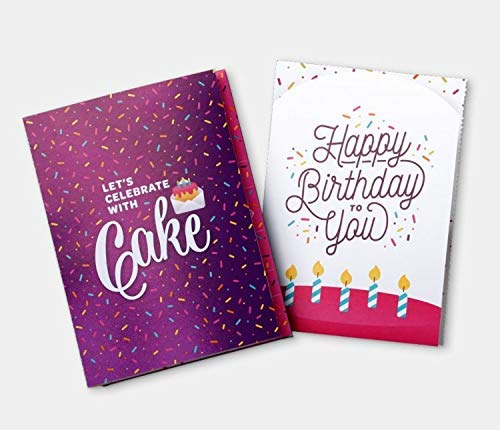 POP UP BIRTHDAY CARD by INSTACAKE | Let's Celebrate with Cake Birthday Card | Includes Single Serve Mug Cake - Chocolate Gluten Free Cake Mix | Purple Birthday Pop Up Cards for Men, Women, & Kids