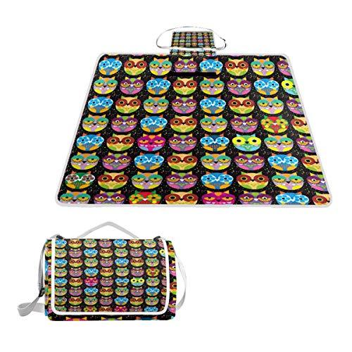 TIZORAX Picknickdecke mit Blumen-Eulen-Motiv, wasserdicht, für den Außenbereich, faltbar, Picknick-Matte für Strand, Camping, Wandern