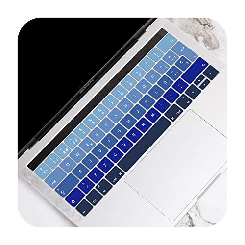 For MacBook Pro 13 15 inch Touch Bar A2159 A1989 A1706 A1707 A1990 2016-2019 EU Spanish Version Keyboard Cover Skin Protector-Gradient Blue