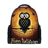 QMIN - Mochila con diseño de búhos, pájaros, Halloween, murciélagos, lunas, escuela, libros, de una cara, para viajes, universidad, senderismo, camping, mochila para niños, niñas, mujeres, hombres