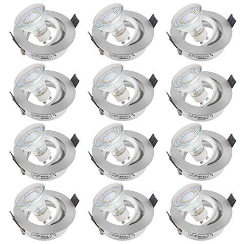 SEBSON Einbaustrahler rund schwenkbar 12er Pack inkl. GU10 LED Lampe 3,5W - Unterputz Decken Einbau Rahmen Alu gebürstet Lochdurchmesser 75mm