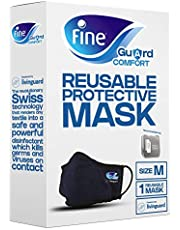 قناع الوجه المريح للكبار من فاين جارد مع تقنية ليفينغارد المضادة للفيروسات، مانع للعدوى - المقاس متوسط