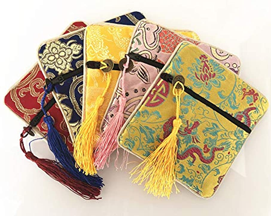 Chinese Silk Brocade Embroidered Jewelry Pouch Bag Coin Purses Gift Bag Zipper Pocket Pouch Color Shipped by Random (5)
