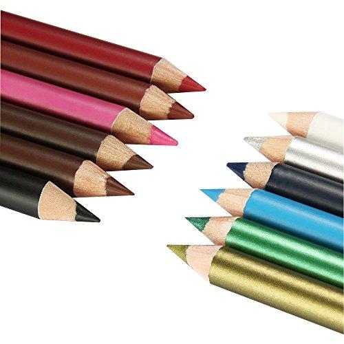 Nourich 12 PCS Crayon à Lèvres Crayon Outils, étanche Liner Gel Crayon Résistant à la sueur Eye Liner Pencil Pen Longue durée Eye-Liner réutilisable High Precision EyeLiner (01#)