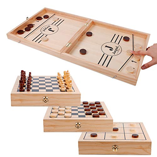 Juegoal 4-in-1 Wooden Fast Sling Puck Set for Kids and Adults, Chess, Checkers, Tic Tac Toe Games, Travel Portable Folding Tabletop Chess Board Game Sets, Interactive Families Toys