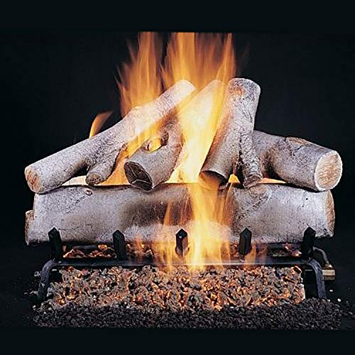 Best Buy! Rasmussen Birch Log Set with 30-Inch Flaming Ember Xtra Burner and Electronic Spark to Pil...