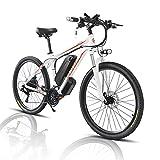 26/29' Bicicleta Eléctrica E-Bike, Bicis de Montaña Electricas para Adulto de 48V con Batería Extraíble de 13Ah/18Ah, Bicicleta de Ciudad para Hombres y Mujeres (Blanco, 26zoll 18A)