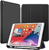 ESR iPad 8 ケース 2020 iPad 10.2 ケース 第7世代 2019 ペンシル収納可能 ソフトフレキシブル 耐衝撃 傷防止 オートスリープ/ウェイク ペンシルホルダー付き 三つ折りスタンド iPad 10.2インチ(2020/2019)用(ブラック)