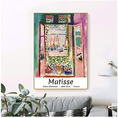 dubdubd Das Offene Fenster Von Henri Matisse Abstrakte Rosa Kunstausstellung Poster Galerie Wandkunst Leinwand Bild Wohnzimmer Dekor -20X28 In No Frame