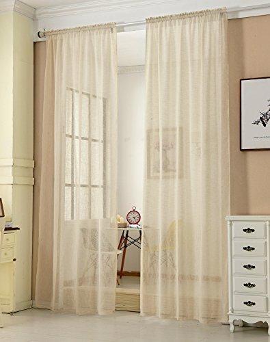 Transparente Gardine mit Kräuselband 2 Stücke Fensterschal in Leinen-Optik Dekoschal in Sand 140x245 cm Fenstervorhang für Schlafzimmer Kinderzimmer Küche Stores Vorhang