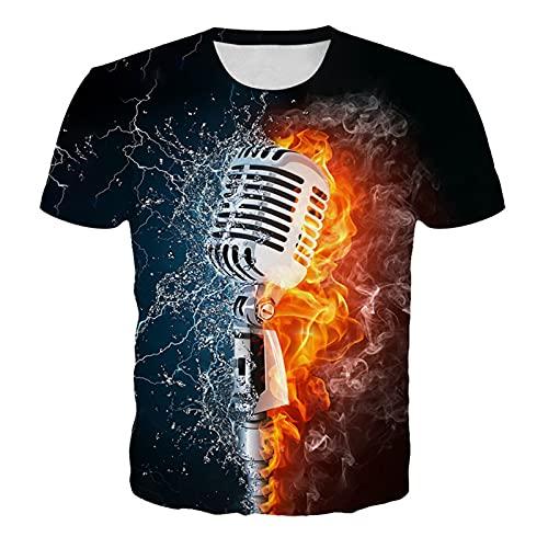 SCLDX 3D Imprimé Manches Courtes T-Shirts - Unisexe Nouveauté Ras du Cou T-Shirts Personnalité Motif De Flamme Abstraite Casual Créatif À Séchage Rapide Chemises D'Été pour Hommes Femmes H