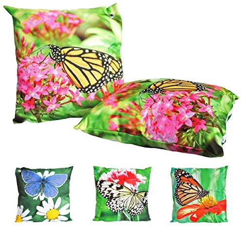 JACK Outdoor Lounge Kissen 45x45cm Motiv Dekokissen Schmetterling Wasserfest Sitzkissen Garten Stuhl Schmetterlinge, Farbe:Gelb