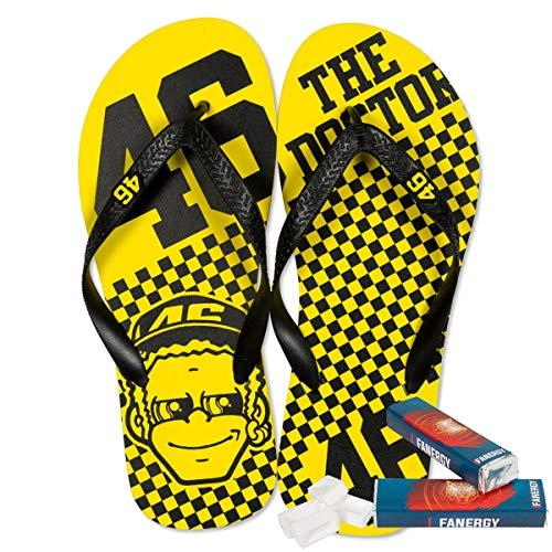 Valentino Rossi Flip-Flops Dottorone gelb + 2X FANERGY Traubenzucker (41)