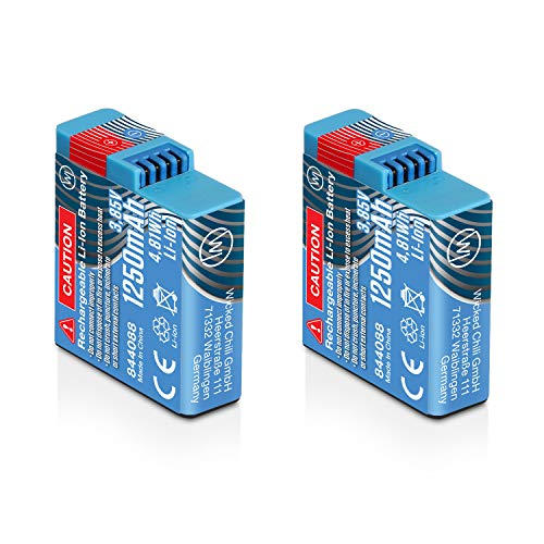 Wicked Chili 2X Akku kompatibel mit GoPro Hero8 Black, Hero7 Black, Hero6 Black, Hero5 Black und Hero2018 - AHDBT-801 / AJBAT-001 Ersatzakku mit 1250mAh (Li-Ion/3,8V/4,8Wh) 2X GOP-801 Battery Pack