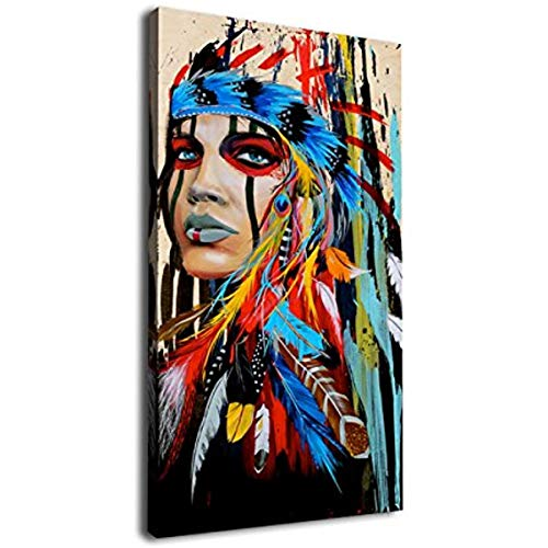 Spokojny Large Canvas Wall Art Native American Indian Beauty Painting Long Canvas Artwork Girl With Colorful Feathers Ethnologic Accories Contemporary Picture For Home Office W 30x45cm Framed