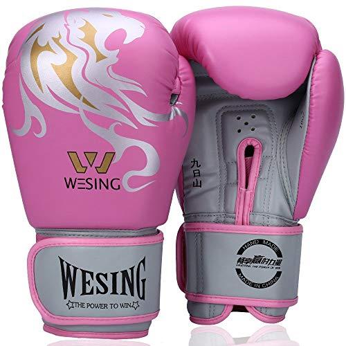 Wesing Leone, Guanti da Boxe, Kickboxing, bagwork, Guanti da Allenamento per Donne e Uomini, Donna, Rosa, 8 oz (236 ml)