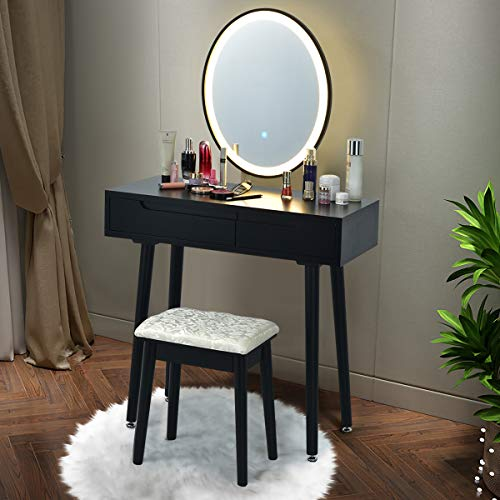 CHARMAID Vanity Set with Lighted Mirror, 3 Modes Adjustable Brightness Mirror, Makeup Dressing Table with Cushioned Stool, 2 Sliding Drawers with Divider, Modern Bedroom Vanity for Girls Women (Black)