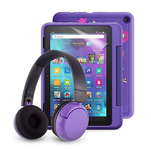 "Fire HD 8 Kids Pro-Tablet (kindgerechte Hülle mit ""Graffiti-Design""-Design) + BuddyPhones PopTime-Bluetooth-Headset (violett, Altersklasse: 8-15 Jahre) + NuPro-Bildschirmschutzfolie (2er-Pack)"