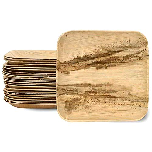 Assiettes Jetables en Feuille de Palmier - Plats Carrés Biodégradables 17.78 cm - Vaisselle en Feuille d'Areca 100% Naturelle - Idéal pour Pique-Niques, Grillades et Fêtes en Plein Air - Lot de 25