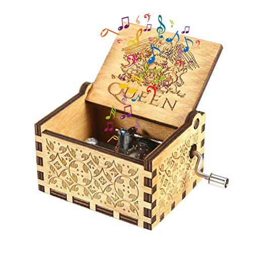 Kylewo Caja de música Queen Hecha de Madera, Caja de música de Madera de Cajas de música talladas a Mano de Queen y Regalos creativos tallados a Mano