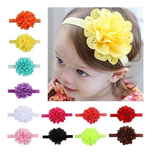 CHSEEA 12 Stück Baby Stirnbänder Elastische Haarband Turban Kleinkind Stirnband Haar Bogen Fliege Schleife Haarreifen Mädchen Head Wrap zur Kostüm Fotografie Props #3