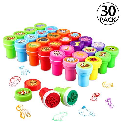 30 Stück PAMIYO Stempel Kinder,Kinder Briefmarken, Selbstfärbende Stempelset Tiere Niedliche Spielzeugstempel aus Plastik für Spiel, Spaß, Hobby und mehr