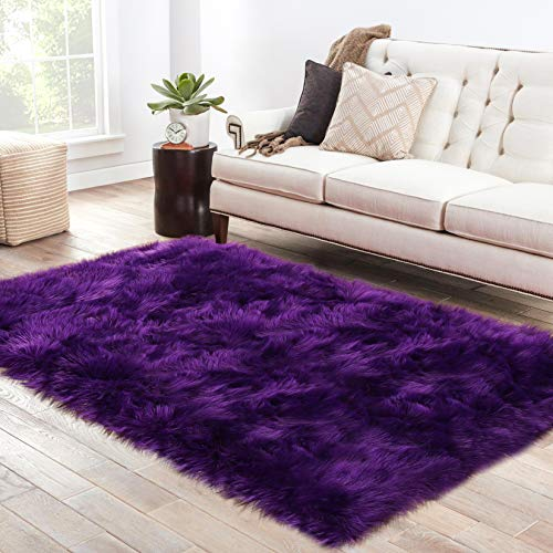 LOCHAS Ultra Soft Fluffy Rugs Faux Fur Sheepskin Area Rug for Bedroom Bedside Living Room Carpet Nursery Washable Floor Mat, 3x5 Feet Purple