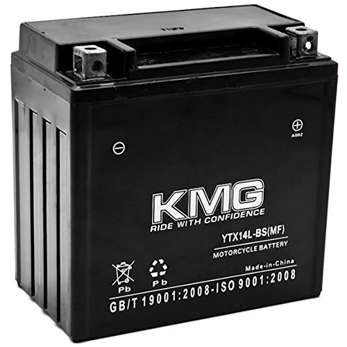 KMG YTX14L-BS Battery Compatible with Harley-Davidson 883 XL, XLH (Sportster) 2004-2012 Sealed Maintenance Free 12V High…
