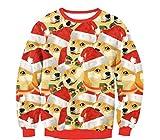 HD 3D Animal Fashion Christmas Puppy Print Jerseys Sudaderas De Manga Larga Suéteres De Cuello Redondo Moda Deportiva Al Aire Libre-S
