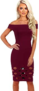 Oliviavan Women's Off Shoulder Hollow Dress,Ladies Bodycon Caged Sleevlees Dress